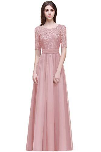 MisShow Damen elegant Abschlussballkleider lang Hochzeitskleider Brautmutterkleider lang Abendkleider Kurz Arm Rosa 36