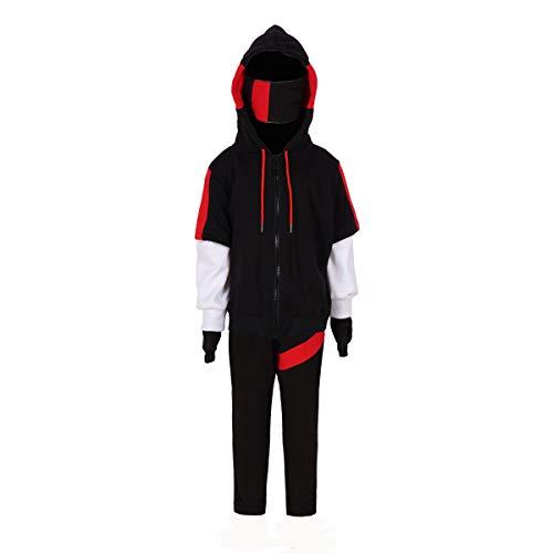 Boy's Short Sleeve Hooded Popover Halloween Hoodies Suits Game Long Sleeve Zip Hoody Pullover (Long Sleeve Hoodies(Black), Kids-M)
