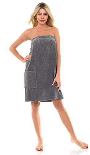TowelSelections Women's Wrap, Shower & Bath, Water Absorbent Cotton Lined Fleece Large/X-Large Neutral Gray