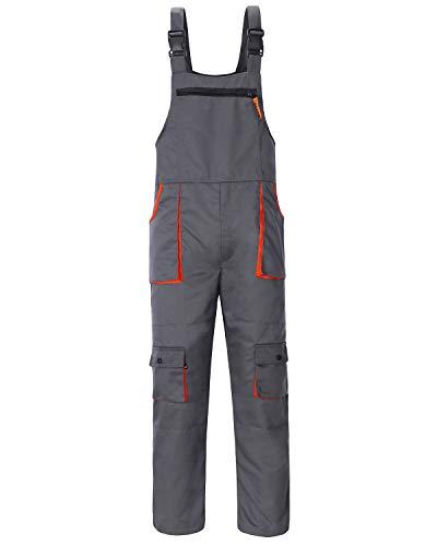 Jkroling Herren Arbeitshose Berufsbekleidung Sicherheitshose Latzhose Hose Arbeitsschutzbekleidung (Large, Grau)