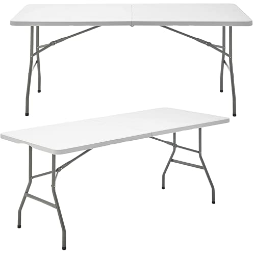 Mesa Plegable Rectangular de Resina Multifuncional, para jardín, Camping, reuniones y Catering Color Blanco Roto...