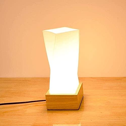 CMMT Lámpara de Mesa Lámpara de escritorio LED de diseño moderno, nórdico, industrial, minimalista y abstracto con pantalla de diseño irregular hecha de vidrio, base de roble e interruptor regulable p
