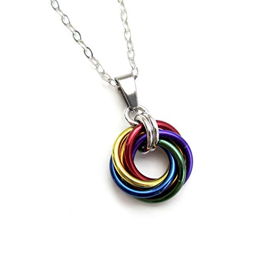 Gay pride pendant, chainmail love knot, rainbow jewelry