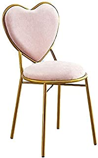 椅子 ドレッサーチェア 化粧椅子イス 鏡台用 モダンダイニングチェアコーヒー時用 レジャー 装飾ホーム ハート型 姫系金属製 (パープル) (Pink)