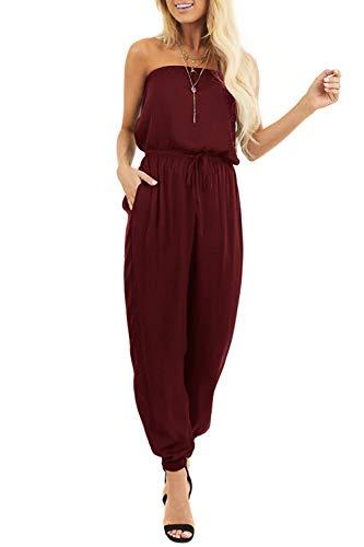 SENSERISE Womens Off Shoulder Romper Strapless Sleeveless Beam Foot Elasitic Waist Jumpsuit with Pockets(Burgundy,XX-Large)