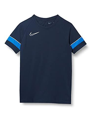 Nike Maillot d'entraînement à manches courtes Academy 21 - Mixte enfant, Bleu marine/blanc/bleu roi/blanc, M/137 - 147 cm