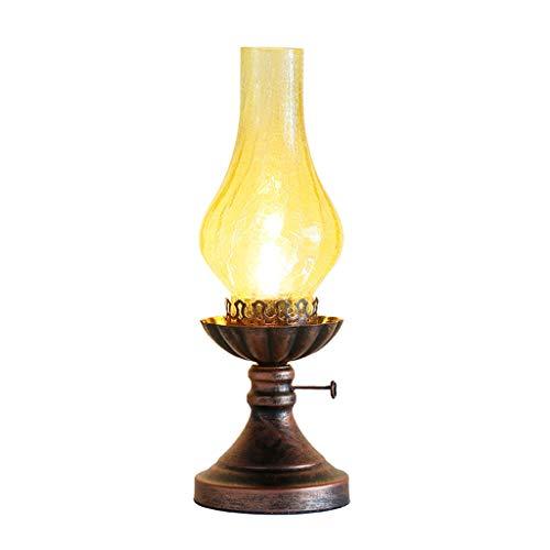 CKH 2 combinaties Retro bureaulamp oude kerosine lamp slaapkamer nachtkastje verlichting tafellamp nostalgisch geel crack glazen lampenkap