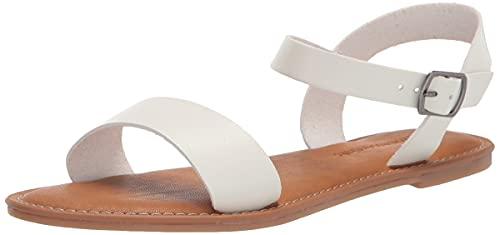 Amazon Essentials Women's Two Strap Buckle Sandal Flat, White PU, 13 B US