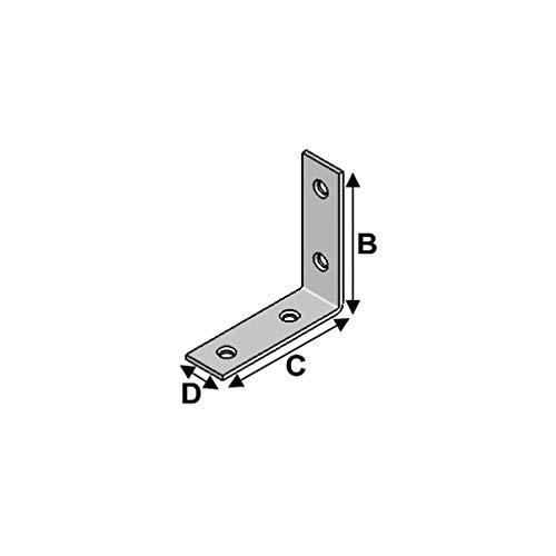 Alsafix - 50 équerres de chaise (H x L x l x ép) 100 x 100 x 20 x 2 mm - AL-EC100100 - Alsafix