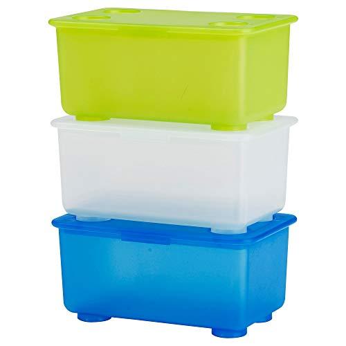 GLIS -Box mit Deckel Weiß/hellgrün Blau/ 3 Stück - 17x10 cm