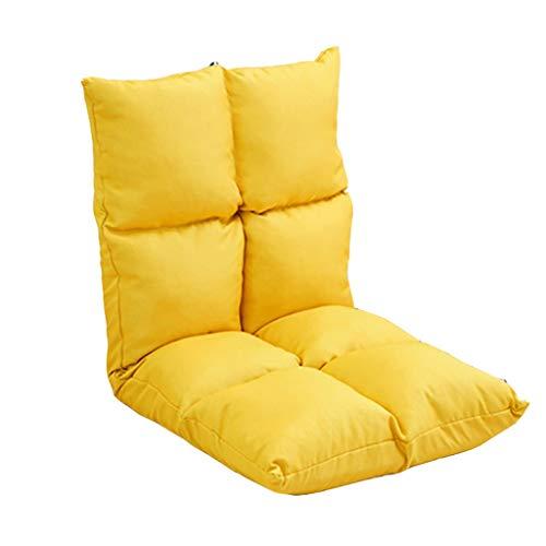 Silla Perezosa Plegable sin Patas Único Respaldo Ajuste de Cinco velocidades Sofá Ventana de la bahía Cojín Dormitorio Cama 102 * 50 * 10cm MUMUJIN (Color : Yellow)