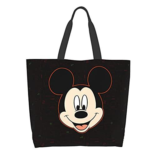 Micky Maus Damen-Schultertasche mit großem Fassungsvermögen, Einkaufstasche, Schule, Arbeit, Handtasche, Lebensmittelaufbewahrung, Tablet-Tasche