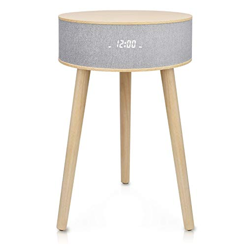 Wireless Charging Coffee Table, Sofa Table, End Table with Wireless Charging, Bluetooth Speaker, USB Port Built-in, for Living Room/Reception Room/Office- LEMEGA DTS 3 White Oak