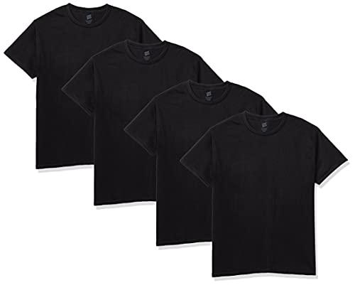 Hanes Men's Essentials Short Sleeve T-shirt Value Pack (4-pack),Black,X-Large
