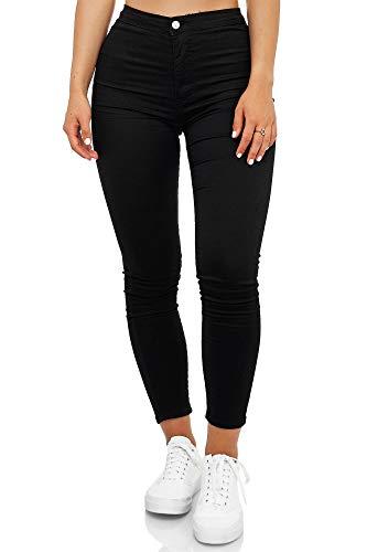 Elara Damen Jeans High Waist Slim Fit Chunkyrayan JS710 Schwarz 38 (M)