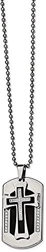 LKLFC Collar para Mujer Collar para Hombre Colgante Acero Inoxidable IP Negro Cepillado y Pulido con CZ Cruz Etiqueta de Perro Collar de 22 Pulgadas Collar Colgante Regalo para niñas Niños