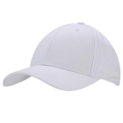 Baumwolle Baseball Cap, Basecap - KeepSa Unisex Baseball Kappen, Baseball Mützen für Draussen, Sport oder auf Reisen - Reine Farbe Baseboard Baseballkappe Kappe, Mütze (Eine Größe einstellbar, Weiß)