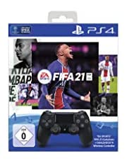 PlayStation 4 - DUALSHOCK 4 Wireless-Controller Jet Black mit EA Sports FIFA 21 PS 4 Voucher (inkl. kostenlosem Upgrade auf PS 5)