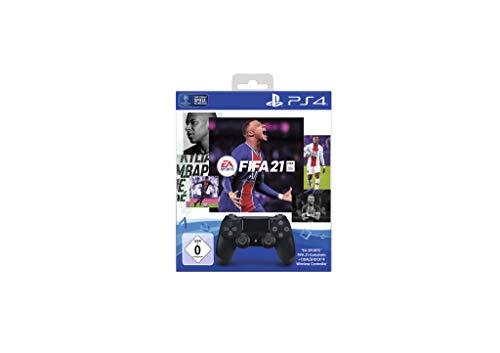 PlayStation 4 - DUALSHOCK 4 Wireless-Controller Jet Black mit Code für EA Sports FIFA 21 PS4 (inkl. kostenlosem Upgrade auf PS5)