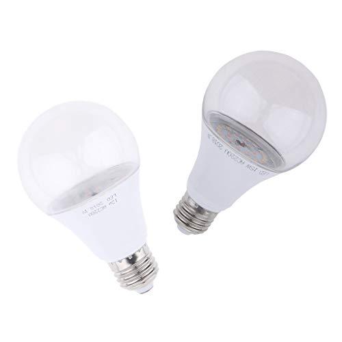 PETSOLA 2pcs / Set E27 12W 15W LED Grow Light Bulbs, Plant Grow Lamps, para Plantas de Interior Flores Veg