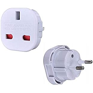 High Grade - Travel Adapter Converts UK Plug to 2 pin (Round) EU Plug - Works in Gabon - AAA Products