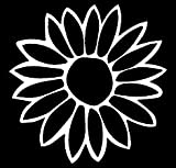 PLU Sunflower White Decal Vinyl Sticker|Cars Trucks Vans Walls Laptop| White |5.5 x 5.5 in|PLU076