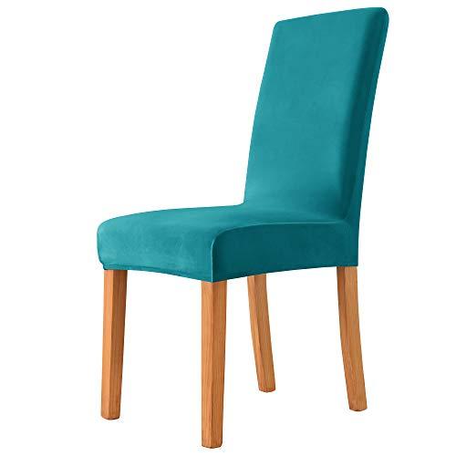 MILARAN Samt Stuhlhussen für Esszimmer, Stretch elastische Stuhlüberzüge, waschbar abnehmbare Stuhlabdeckung, Spannbezug mit Gummiband(4 Stück,Türkis)