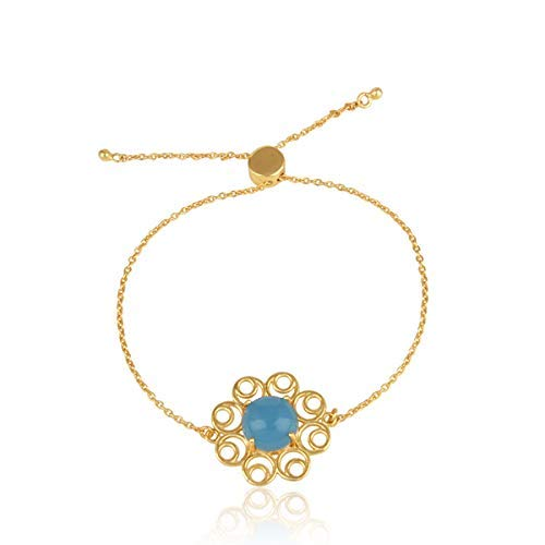 We OFFer at cheap prices Gold Plated Max 86% OFF 925 Silver Blue Chalcedony Slider Charm Bracelet