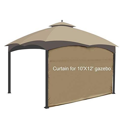 Gazebo Universal Replacement Privacy Curtain - 10ft or 12ft Side Wall Panel, One Side Only (12ft, Khaki)