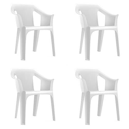 RESOL Cool Set 4 Sillas de Jardín con Reposabrazos Apilable | Terraza, Patio, Exterior, Comedor, Reuniones | Diseño Moderno Ligera y Resistente Filtro UV - Color Blanco