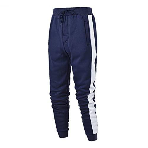 WXZZ Pantaloni sportivi da uomo, alla moda, per il tempo libero, per la corsa, con strisce strette, con orlo gamba stretta, pantaloni da jogging, Blu marino, M