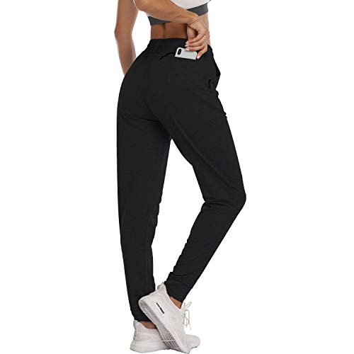 HISKYWIN Women's Athletic Yoga Lounge Pants Drawstring Waist Active Joggers Sweatpants with Pockets Pants-F18017-Black-M