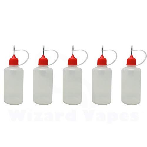 Juego de 5 botellitas para líquido (plástico LDPE, con cuentagotas), 50 ml