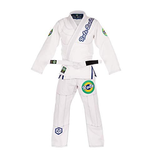 Role Bonito Kimono de Jiu-Jitsu Brasileño para Hombre (BJJ Gi) Ligero en Blanco (Talla A3)