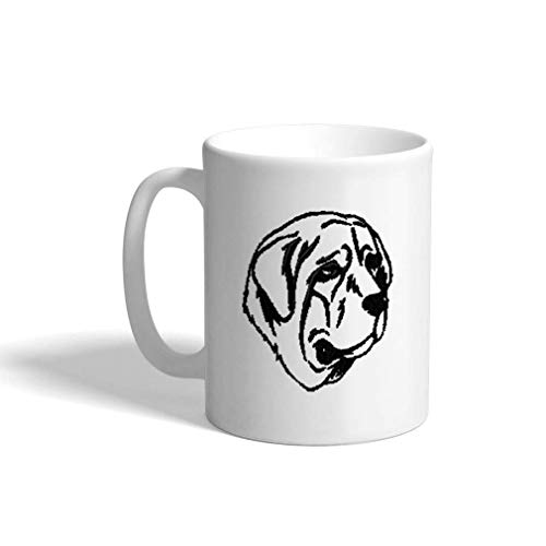 VTXINS keramische grappige koffie mok koffie Cup Spanish Mastiff Silhouet White Tea Cup 11 Ounces