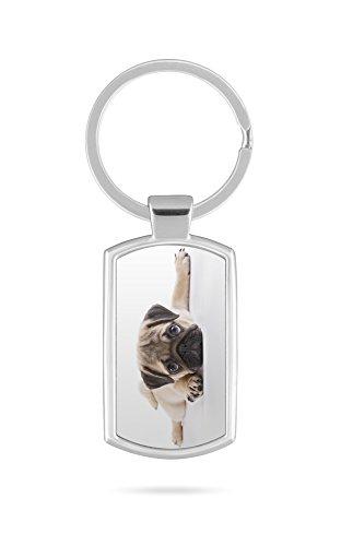 Schlüsselanhänger mit Gravur Wunschtext Mops Hund 2