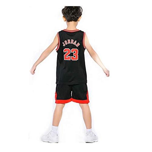 Angel ZYJ Niño Michael Jordan # 23 Chicago Bulls Retro Pantalones Cortos de Baloncesto Camisetas de Verano Uniformes y Tops de Baloncesto (Negro # 23, l)