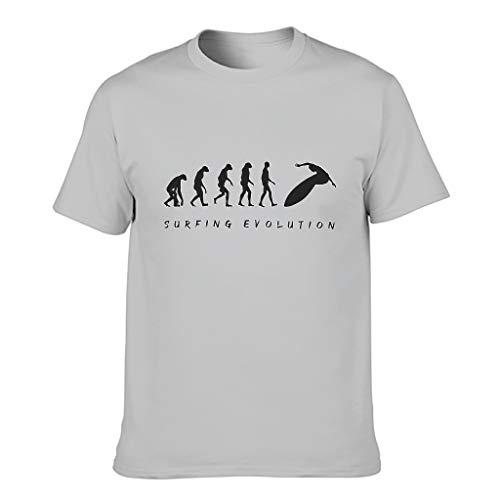 Camiseta de algodón para hombre, diseño de evolución de surf, divertida, transpirable, con estampado Gris plateado. XXXXXXL
