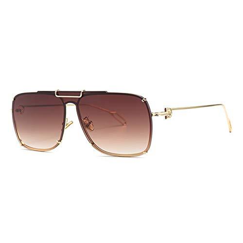 YIERJIU Gafas de Sol Gafas de Sol de Gran tamaño de una Pieza Mujeres Hombres Gafas de Sol de piloto Gafas Gradient len Gafas de Metal Oculos Lunette De Sol Feminino,C1