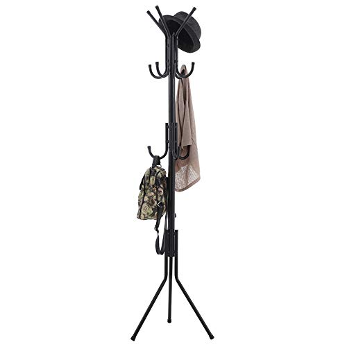 POETRY Kledingrek metalen kast 11 haken staan vloer hangers slaapkamer woonkamer hoek H: 173cm A ++ (kleur: zwart)