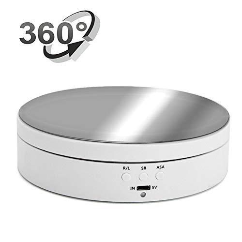 Tocadiscos Giratorio Eléctrico de 360 Grados Plataforma Giratoria Automática Puede Cargar 3 Kg Ajuste de 3 Marchas USB Motorizado de Superficie Giratoria Exhibición de Productos O Pastel,Blanco