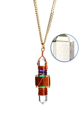 Crystal Pendant Necklace Healing Tool Etheric Weaver® Pyramid Cut Quartz Crystal Pendant Pendulum Worn at The Heart Center