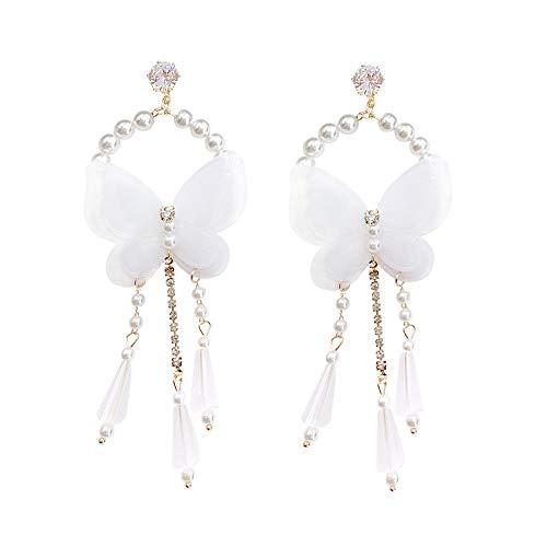 Aretes colgantes para mujer en plata de ley larga White Bow Holiday Wind Pearl Strass Tassel Fashion Pendientes Regalo elegante y delicado SDHJMT