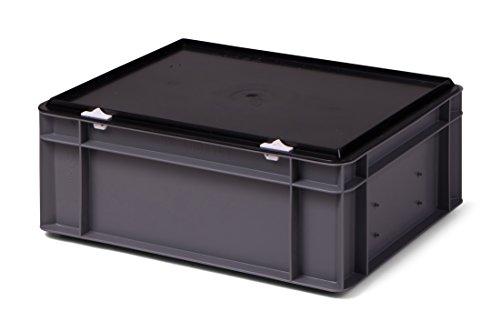Kunststoff-Stapelbox/Lagerbehälter, grau, mit schwarzem Verschlußdeckel, 400x300x156 mm (LxBxH), stabile Industrie-Ausführung!