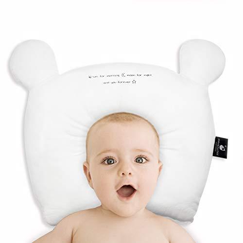 XMWEALTHY Baby Pillow for Newborn Prevent Flat Head Baby Head Pillow Newborn Bear Infant Support Pillow Gilrs White