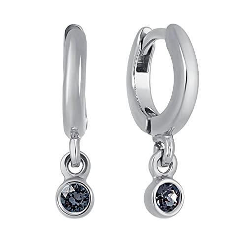 Pendientes de aro con pequeño colgante XAVIER plateado, Latón Metal plateado. cristal., Crystal Onyx Diamante negro,