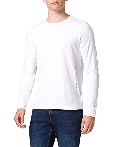 Tommy Hilfiger Hilfiger Logo Long Sleeve Tee T-Shirt, Bianco, M Uomo