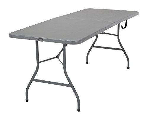 COSCO 6 ft. Fold-in-Half Banquet Table w/Handle, Gray