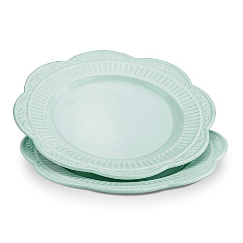 STAR MOON Dinnerware Set Ceramic Plates Dishes Green Set of 2 for Pasta Salad, Dishware, 8.86 Inches, Dishwasher & Microwave Safe, Vintage Embossed Roman Pattern, Light Green (Set of 2)