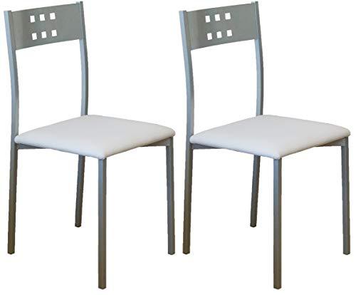 Miroytengo Pack 2 sillas Cocina Costa Color Blanco Patas Gris Comedor Estilo Moderno 86x47x41